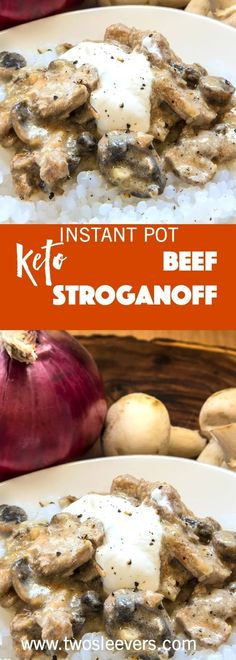 Instant Pot Keto Beef Stroganoff is a creamy, rich, low carb dish made quickly in the Instant Pot or your Pressure Cooker. via @twosleevers #lowcarbrecipe #beefstroganoff #instantpotrecipe