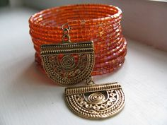 Sparkling Orange Beaded Bracelet with Upcycled by Strawspinnings