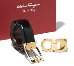Reversible belt in shiny lux calfskin with interchangeable shiny gold rectangular buckle and brushed gold double Gancini buckle. This belt is adjustable and can be cut to size for a custom fit. Collection FW 2015 Made in Italy