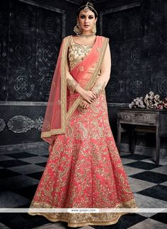 Buy latest lehenga choli from our different range of lehenga choli online. Grab this art silk rose pink lehenga choli Pink Lehenga, Indian Lehenga, Bridal Lehenga Choli, Pakistani, Indian Dresses, Indian Outfits, Indian Clothes, Crepe Silk Sarees, Indian Bridal Wear