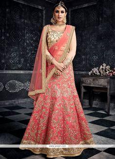Buy latest lehenga choli from our different range of lehenga choli online. Grab this art silk rose pink lehenga choli Pink Lehenga, Bridal Lehenga Choli, Indian Lehenga, Pakistani, Indian Dresses, Indian Outfits, Indian Clothes, Crepe Silk Sarees, Lehenga Choli Online