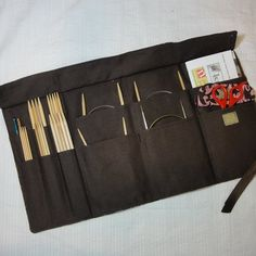 Travel Knitting Needle Case with D-Ring Belt - Custom Made - Holds needles and patterns your choice of fabrics