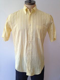 Vintage MENS Arrow Cum Laude striped shirt circa by pandaJpanda, $20.00 Yellow Shorts, Skinny Ties, Button Down Collar, Blue Stripes, Arrow, Dress Up, Men Casual, Cotton, Mens Tops