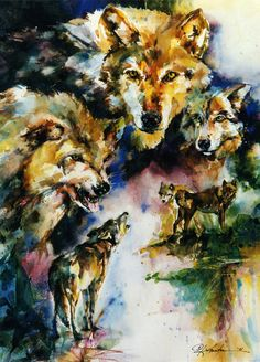 Wolves by Kathy Morton Stanion. Prints available at: http://kathy-stanion.fineartamerica.com