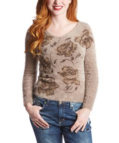 Another great find on #zulily! Light Mocha Rose Fuzzy Sweater by Morning Apple #zulilyfinds