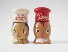 Vintage Man and Woman Wooden Salt and Pepper by rhanvintage, $12.00
