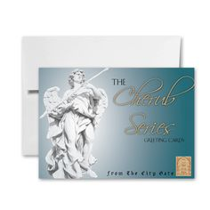 This pack of eight beautifully designed cards are a part of The City Gate Stationery Cherub series.  Each card is gorgeous and will be a joy to share with someone in your life.  This set with its white envelopes makes a great gift itself or will beautifully accompany a gift from you to your loved one.  There are discounts when you buy more than one set of cards. -$12.95