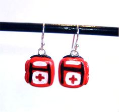"""Sterling Silver L4D Inspired Health Pack Earrings. Totally not Mario, but I don't have a """"general video games"""" board so . . .  here it lies."""