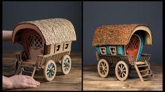 ❣DIY Vardo Wagon Using Cardboard❣ Diy Crafts Hacks, Foam Crafts, Diy Home Crafts, Paper Crafts, Diy Projects, Art Carton, Diy Karton, Cardboard Toys, Cardboard Houses