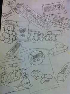 H to sketchbook - Junk food. Fill the page with junk food. Any medium High School Art, Middle School Art, Sketchbook Assignments, 8th Grade Art, Observational Drawing, Art Worksheets, Art Lessons Elementary, Drawing Lessons, Elements Of Art