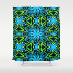 Blue and Green Stained Glass Shower Curtain by Celeste Sheffey of Khoncepts - $68.00  #blueandgreen #homedecor #bathroomdecor