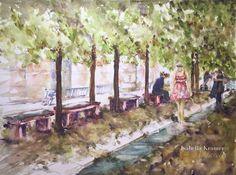 veredit - art©: Summer in Berlin - 1 2015 © ISABELLA KRAMER  watercolor Summer in Berlin - 1  Size: 42 cm x 56 cm Paper: Hahnemühle mould made 300 g/m²