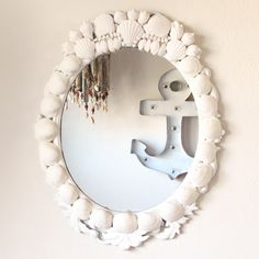 Garage Sale Upcycled Shell Encrusted Mirror
