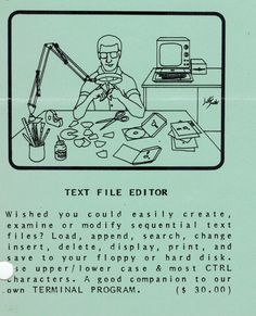 Flyer ad for Text File Editor program (1982). Text File, Telephone, Editor, Connection, Software, Positivity, Phone, Optimism