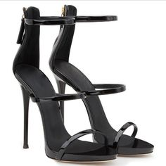 5fcad8de09048 Simple Style Zipper Stiletto Heel Ankle Strap High Heel Sandals  #platformshoesforwomen Shoes Sandals, Black
