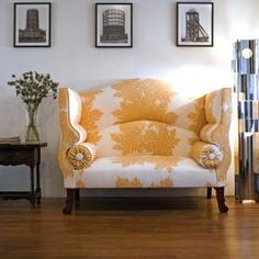 George Smith tufted sofa-bench. love the queen anne legs and the color!