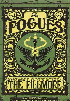 Original concert poster for the Pogues at The Fillmore in San Francisco. Art by Todd Slater. Tour Posters, Band Posters, Film Posters, Norman Rockwell, Music Artwork, Art Music, Caricatures, Concert Rock, Musik Illustration