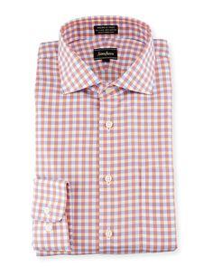 Neiman Marcus Classic-Fit Non-Iron Check Dress Shirt, Coral/Blue, Men's, Size: 17.5 36/37
