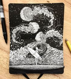 Beyond the waves by @kerbyrosanes | #blackworknow if you would like to be featured  Submissions/business inquiries blackworknow@gmail.com  Follow our pages @blacktattoonow @tempuradesign and @illustrationow