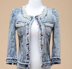 Fashion Womens Round Collar Denim Jacket Short Coat Pearl Beaded Jeans Washed