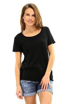 American Vintage - T-Shirts - Abbigliamento - T-Shirt in cotone fiammato con girocollo e taglio vivo. - NOIR - € 36.89