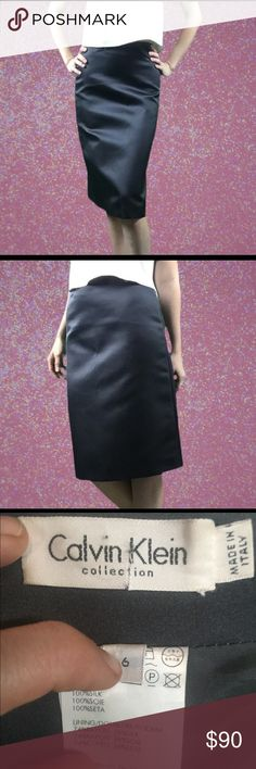 SALE!!! Calvin Klein Collection - Black Midi Skirt 100% Silk, Made in Italy. Perfect condition! Dry Clean Only. *10% of sales received will be donated to Speak Up in Bangladesh to help protect young girls from child marriage and sexual exploitation.** Calvin Klein Skirts Midi