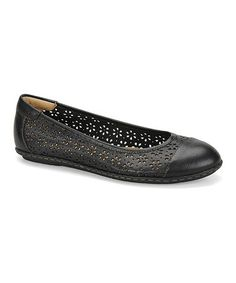 Love this Black Carajean Leather Flat on #zulily! #zulilyfinds