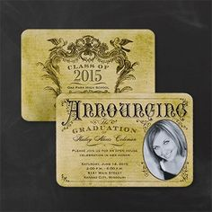 A vintage design gives this photo graduation announcement a rustic look.
