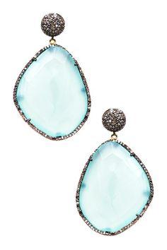 Pave Diamond Freeform Chalcedony Drop Earrings - 1.69 ctw by Jewels By Lori K on @HauteLook