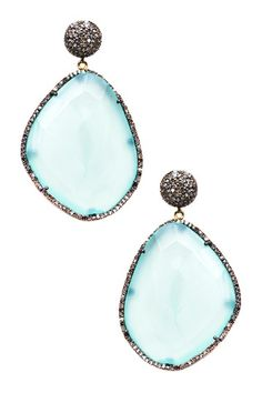Pave Diamond Freeform Chalcedony Drop Earrings - 1.69 ctw by Jewels By Lori K on @HauteLook