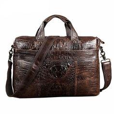 Genuine Leather Alligator Grain Shoulder Bag Business Laptop Briefcase