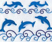 Dolphins and Waves - Embroidered Linen Kitchen Towel with YOUR CHOICE of Colored Border