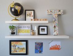 Floating Shelves and Bright Prints in Neutral Nursery
