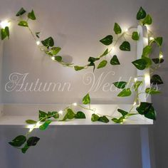 Battery operated Ivy garland with mini LEDs Mini LEDs have been embedded onto silver wire, which has been delicately intertwined with the ivy to create this beautiful LED garland Regular size is approx 2m (6.5ft) long with a lit length of 1.8m (5.9ft) and features 20 warm white
