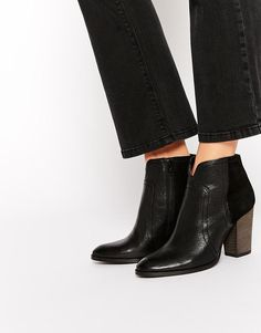 Dune | Dune Pollo Black Leather Heeled Boots at ASOS
