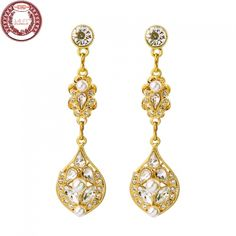 2017 New Arrivals Luxury Gold plated Crystals Stone Drop Earrings for Women | Fashion Jewelry Manufacturer | China Supplier
