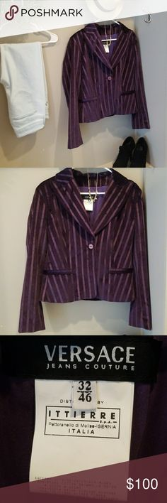 Versace couture purple velvet blazer Very cute and fashionable Vintage versace couture velvet striped blazer.  There is satin lining and in perfect condition versace couture Jackets & Coats Blazers