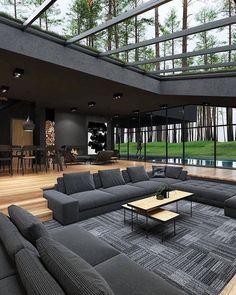 Dream House Interior, Luxury Homes Dream Houses, Dream Home Design, Modern House Design, Dream Homes, Modern Houses, Cool House Designs, Black Interior Design, Modern Interior
