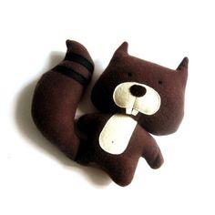 """Squirrel stuffed toy soft toy rag doll squirrel softie squirrel plushie plush toy stuffed animal woodland handmade toy brown 26 cm 10.2"""""""