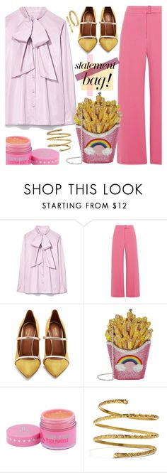 """""""Statement bag!"""" by puljarevic ❤ liked on Polyvore featuring Tory Burch, River Island, Malone Souliers, Judith Leiber, Venus and statementbags"""