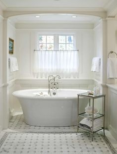 Bathroom: Awesome Free Standing Soaker Tub Under Sheer Window Treatment For Traditional Bathroom With Beadboard Wall And Radiant Heating In The Floor Plus Curved Elliptical Beams, wallpaper mural, slipper soaker tub ~ klfs.org