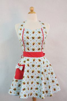 Vintage Style Aprons | Apron Retro Style Sweetheart Neckline Blue Strawberry Patch Full Apron ...