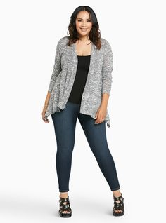 Plus Size Open Hacci Knit Cardigan, GREY