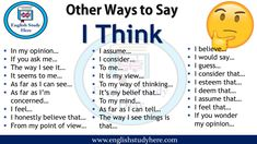 Other Ways to Say I Think - English Study Here Gcse English, English Study, English Lessons, English Grammar, English English, English Tips, English Vocabulary Words, Learn English Words, English Phrases