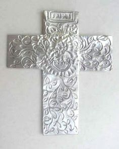 Foil Cross | Art class ideas: all you needs is art foam, ball point pen, scissors, & foil tape.