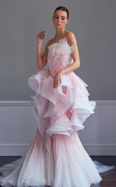 Usually I'm not one for such frothy designs but it's so perfect. Ruffles of silk organza are painted by hand - Ralph & Russo