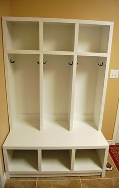 Turned Leg Media Console Mudroom idea - wonder if my kids would actually utilize this? Turned Leg Me Cubby Storage, Kids Storage, Locker Storage, Storage Ideas, Playroom Storage, Record Storage, School Bag Storage, Locker Organization, Backpack Organization