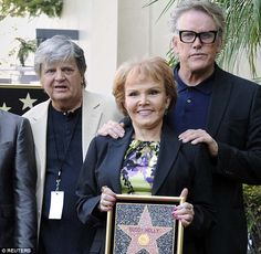Final walk: Phil Everly, pictured with Buddy Holly's widow Maria Elena and Garey Busey at the unveiling of Holly's Star on the Hollywood Walk of Fame, which would be his last public appearance Bye Bye Love, Buddy Holly, Hollywood Walk Of Fame, Always And Forever, Lunges, Mail Online, Daily Mail, Public, Star