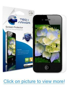 Tech Armor Apple iPhone 4/4S High Defintion (HD) Clear Screen Protectors -- Maximum Clarity and Touchscreen Accuracy [3Pack] Lifetime Warranty #Tech #Armor #Apple #iPhone #4_4S #High #Defintion #HD #Clear #Screen #Protectors #__ #Maximum #Clarity #Touchscreen #Accuracy #3Pack #Lifetime #Warranty