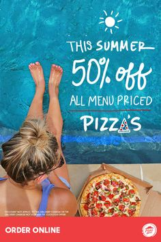 This summer, pizza is on the menu! Invite friends and neighbors to enjoy 50% off all menu-priced Pizza Hut pizzas while it lasts. There's no better beach, pool or picnic companion this season with toppings everyone will love. Available online only through 7/23.